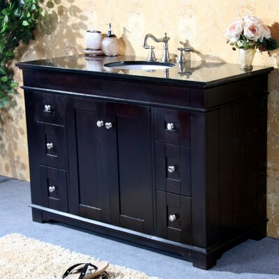 48 Single Bathroom Vanity Set Base Finish: Espresso, Top Finish: Absolute Black Granite