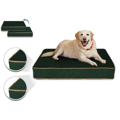 Luxury Memory Foam Dog Bed with Lux Designer Microfiber Cover Size: Large (40 L x 32 W), Liner Color: Forest Fern