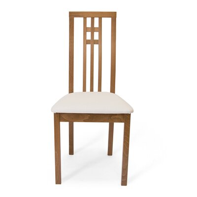 District Dining Side Chair in Beige Fabric Color: Walnut