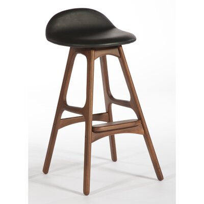 Aidan Real Leather Swivel Bar Stool Upholstery: Black, Color: Natural