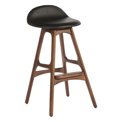 Aidan 29.75 Bar Stool Upholstery: Black, Color: Walnut