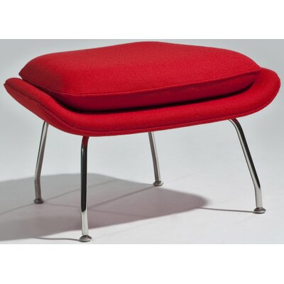 Arushi Ottoman Upholstery: Red, Finish: Polished Stainless Steel
