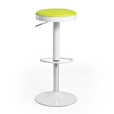 Hausman Adjustable Height Swivel Bar Stool Upholstery: Green