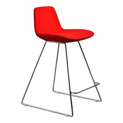 Fun, Colorful Counter Stool with Cushion Upholstery: Red