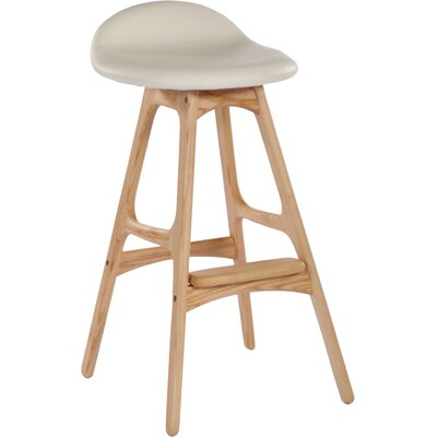 Aidan 33.75 Bar Stool Upholstery: White, Color: Natural