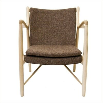 Lydia Upholstered Armchair Finish: Walnut, Upholstery: Black