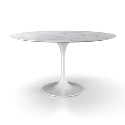 Larkson Carrara Marble Dining Table Size: 28.25 H x 54 W x 54 D