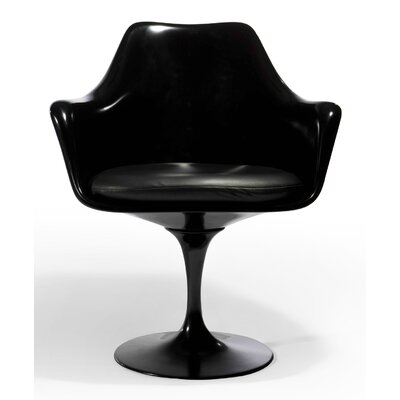 Baney Arm Chair Frame Color: Black, Upholstery Color: Leather Black