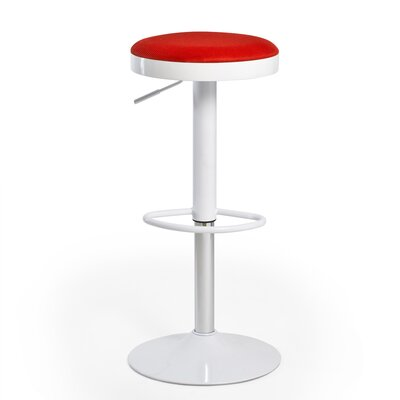 Hausman Adjustable Height Swivel Bar Stool Upholstery: Red