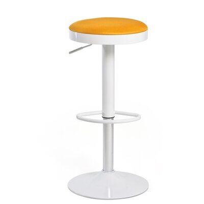 Hausman Adjustable Height Swivel Bar Stool Upholstery: Orange