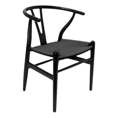 Villa Court Solid Wood Dining Chair Frame Finish: Black, Seat Finish: Black