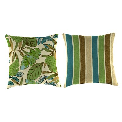 Reversible Outdoor Throw Pillow Fabric: Marley Emerald / Chino Stripe Emerald