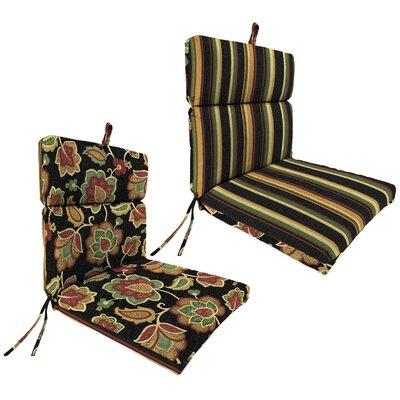 Jordan Manufacturing Co., Inc. Reversible Universal Dining Chair Cushion - Fabric: Spencerport Stripe Coal / Hanna Loral Coal