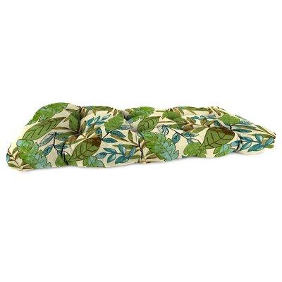 Jordan Manufacturing Co., Inc. Reversible Wicker Bench Cushion - Fabric: Fitzroy Stripe Chili / Karin Chili