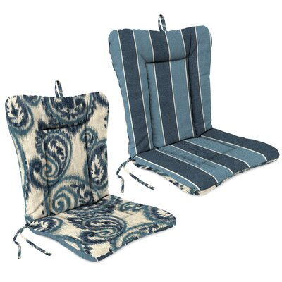 Outdoor Adirondack Chair Cushion Fabric: Wickenburg Indigo / Sorista Indigo
