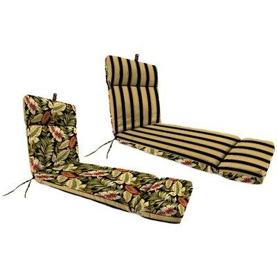 Jordan Manufacturing Co., Inc. Universal Chaise Lounge Cushion - Fabric: Coach Stripe Black / Twilight Leaves Black