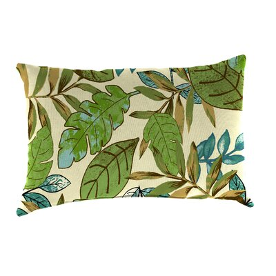 Reversible Outdoor Lumbar Pillow Fabric: Marley Emerald / Chino Stripe Emerald