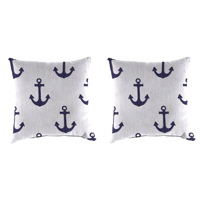 Indoor/Outdoor Throw Pillow Farbic: Ahoy Blue Marine