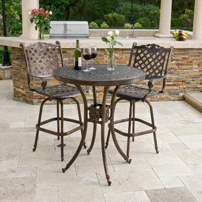 Piedmont 3 Piece Cast Aluminum Copper Outdoor Bar Set