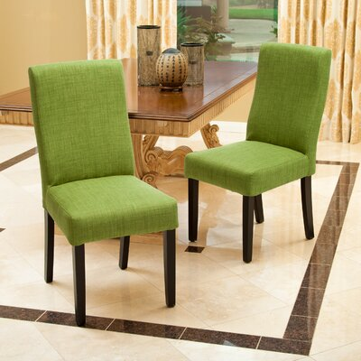 Caverly Parsons Chair Upholstery: Green