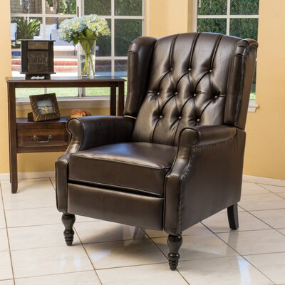 Henley Manual Recliner Upholstery: Brown Faux Leather