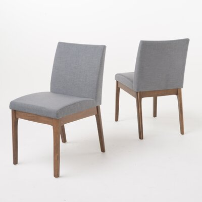 Joseph Side Chair Color: Natural Oak, Upholstery: Dark Gray