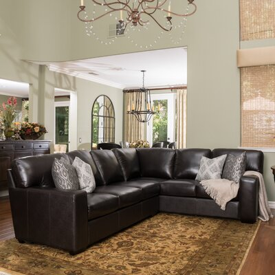 Calabria Leather Sectional Upholstery: Dark Brown