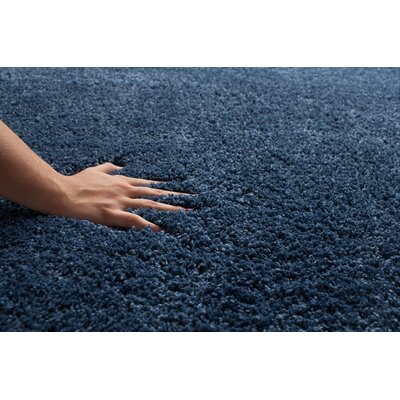 Broncho Blue Solid Area Rug Rug Size: 76 x 96