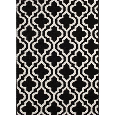 Myra Black/White Area Rug Rug Size: 5 x 7