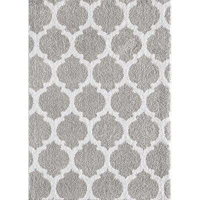 Nannie Gray/White Area Rug Rug Size: 76 x 96