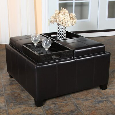 Coffee Table Storage Ottoman Square LC5026OTSQBCBR Coffee