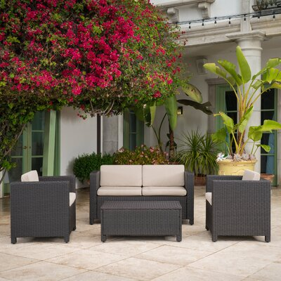 Phillip 4 Piece Wicker Deep Seating Group with Cushion Finish: Dark Brown
