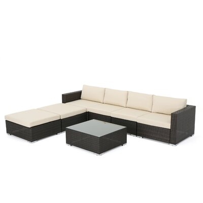 Nathen Aria Outdoor 7 Piece Sectional Seating Group with Cushion Fabric: Ivory