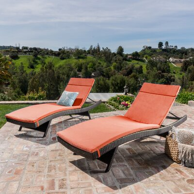 Hans Cagliari Set of 2 Wicker Chaise Lounge with Cushion Finish: Brown