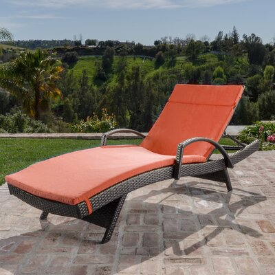 Hans Cagliari  Adjustable Wicker Chaise Lounge with Cushion