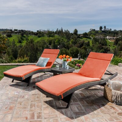 Hans Cagliari 3 Piece Wicker Chaise Lounge Set with Cushion Finish: Brown