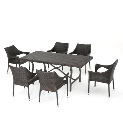 Nadia McGowan Wicker 7 Piece Dining Set
