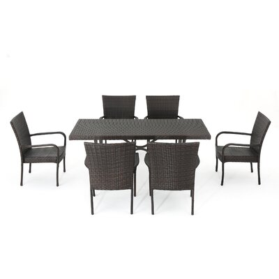 Connery Phelps Wicker 7 Piece Dining Set
