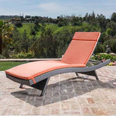 Hans Cagliari Wicker Chaise Lounge with Cushion Finish: Gray