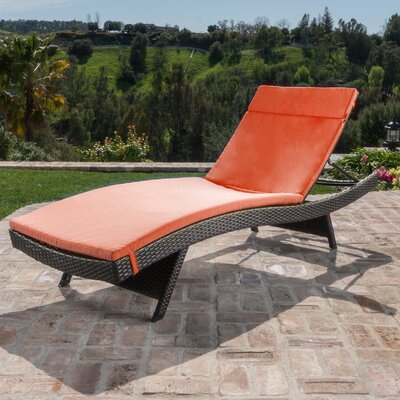 Brayden Studio Hans Cagliari Wicker Chaise Lounge with Cushion
