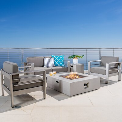 Rheba 5 Piece Fire Pit Set Seating Group with Cushion