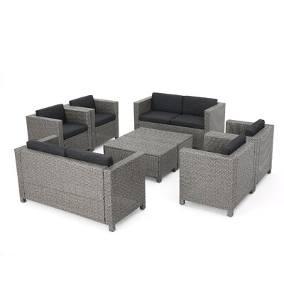 Ballew Outdoor Wicker 8 Piece Deep Seating Group with Cushions Fabric: Dark Gray