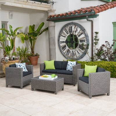 Phillip 4 Piece Wicker Deep Seating Group with Cushion Finish: Black
