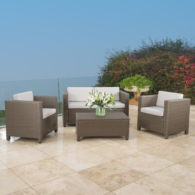 Phillip 4 Piece Wicker Deep Seating Group with Cushion Finish: Brown