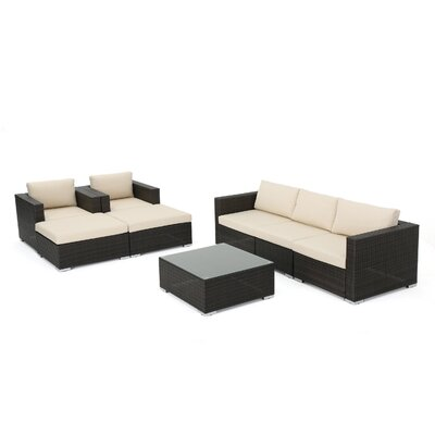 Bour Outdoor Wicker 8 Piece Deep Seating Group with Cushion Fabric: Multibrown