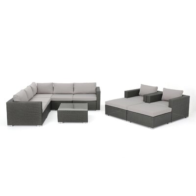 Bour 10 Piece Sectional Set With Cushions Fabric: Gray