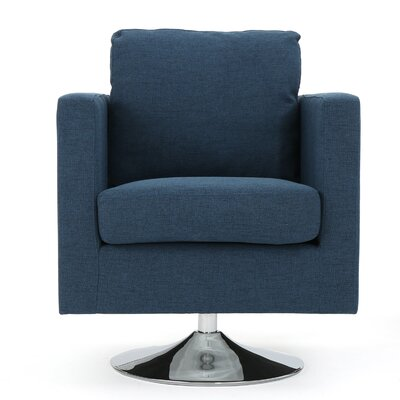 Elsmere Fabric Swivel Club Chair Upholstery: Navy