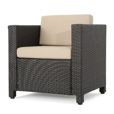 Nicolino Outdoor Wicker Armchair Upholstery: Dark Brown