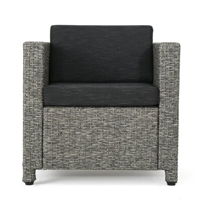 Nicolino Outdoor Wicker Armchair Upholstery: Mixed Black