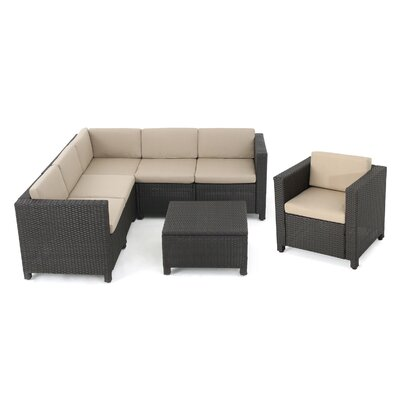 Nicolino Outdoor Wicker V-Shaped 7 Piece Deep Seating Group Fabric: Dark Brown